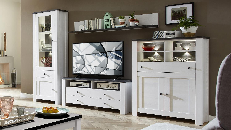 wohnwand antwerpen 4 in l rche pinie dunkel inkl led. Black Bedroom Furniture Sets. Home Design Ideas