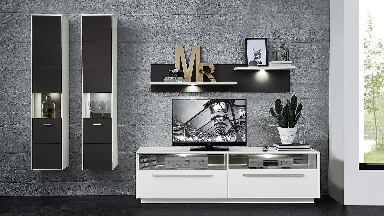 wohnwand 1 tacomas anbauwand in grau wei matt mit led. Black Bedroom Furniture Sets. Home Design Ideas