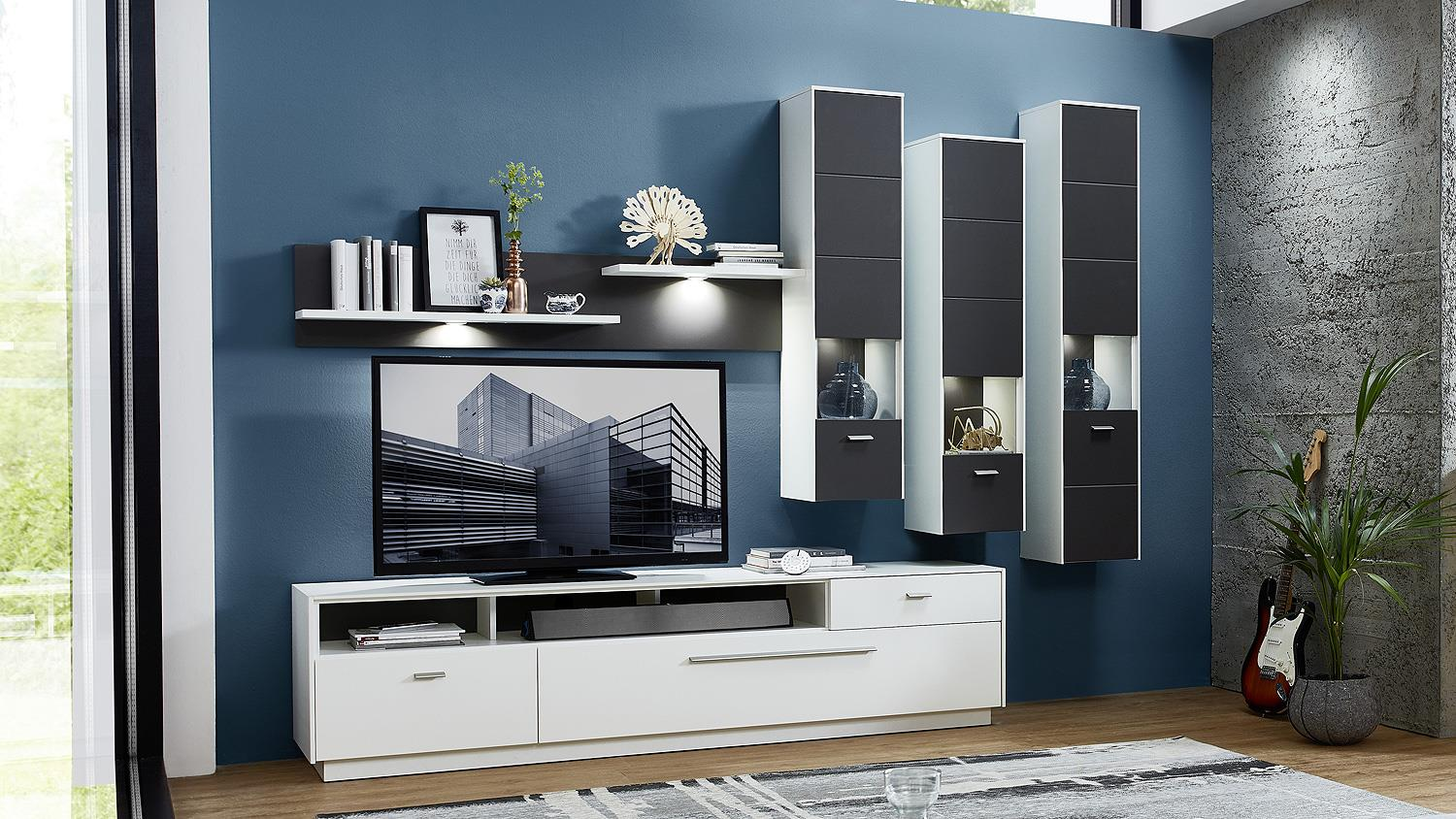 wohnwand 2 tacomas anbauwand in grau wei matt mit led. Black Bedroom Furniture Sets. Home Design Ideas