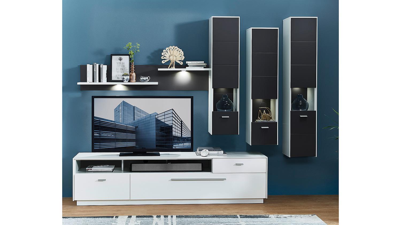 wohnwand 2 tacomas anbauwand in grau wei matt mit led. Black Bedroom Furniture Sets. Home Design Ideas