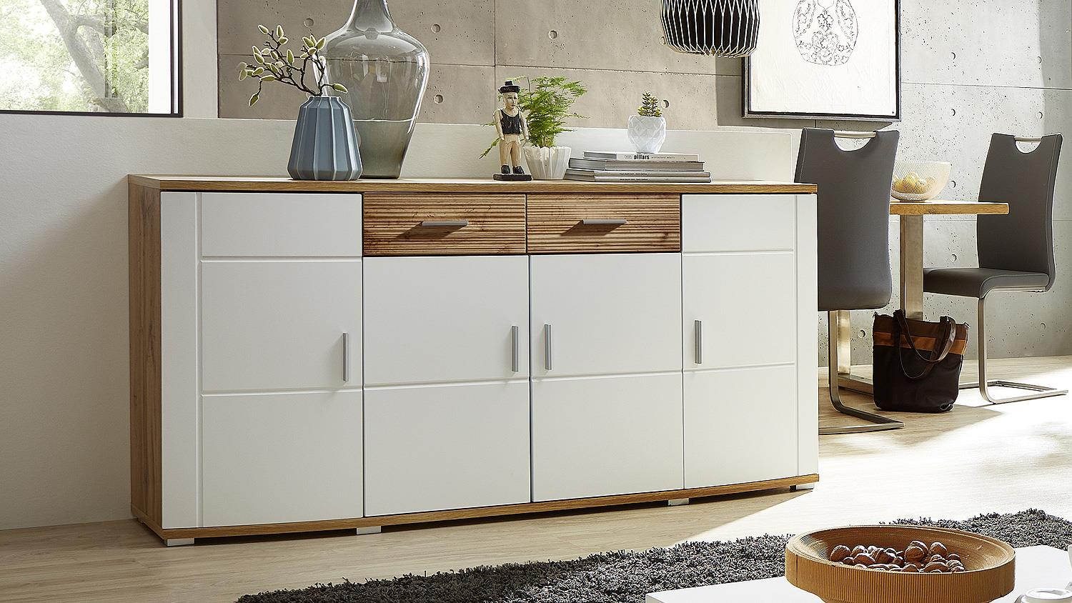 sideboard jamie kommode anrichte wei matt eiche altholz. Black Bedroom Furniture Sets. Home Design Ideas