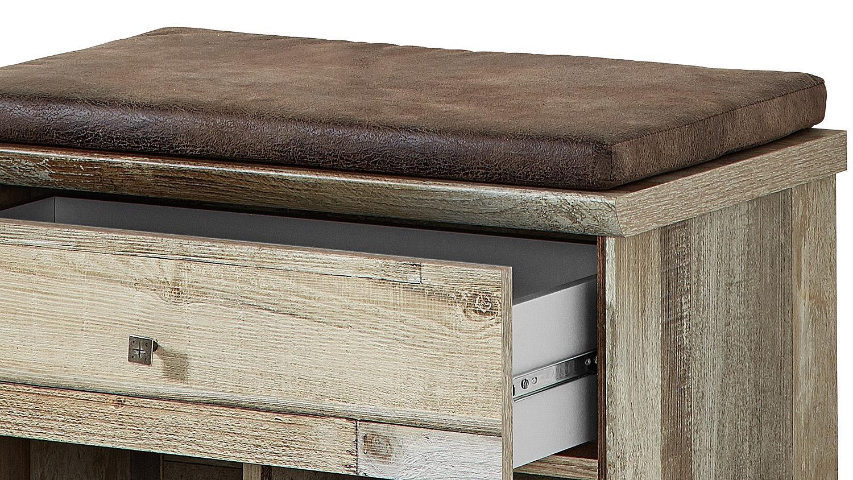 bank bonanza schubank inkl kissen braun driftwood b 67 cm. Black Bedroom Furniture Sets. Home Design Ideas