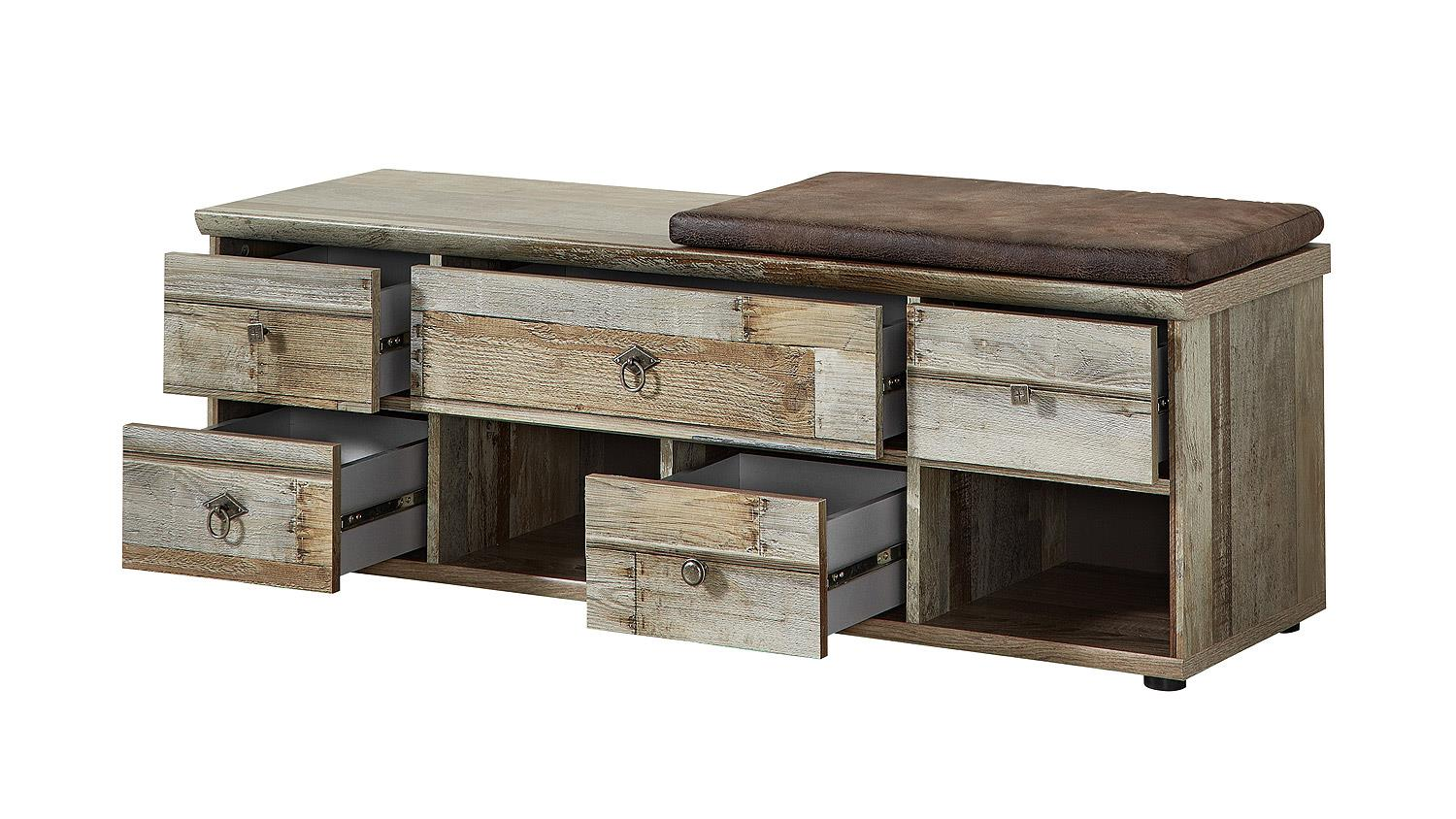 bank bonanza schubank inkl kissen braun driftwood b 130 cm. Black Bedroom Furniture Sets. Home Design Ideas