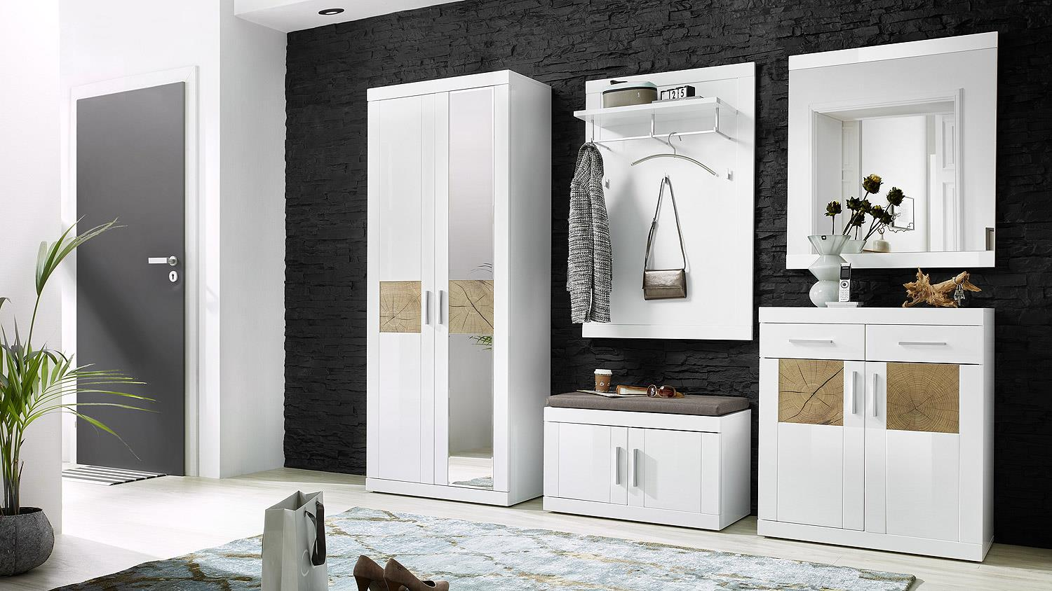 garderobe junos set in mdf wei hochglanz hirnholz. Black Bedroom Furniture Sets. Home Design Ideas