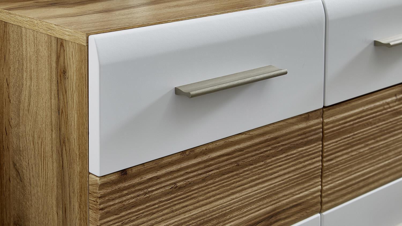 schuhschrank sunny schuhkommode in wei und eiche geriffelt. Black Bedroom Furniture Sets. Home Design Ideas