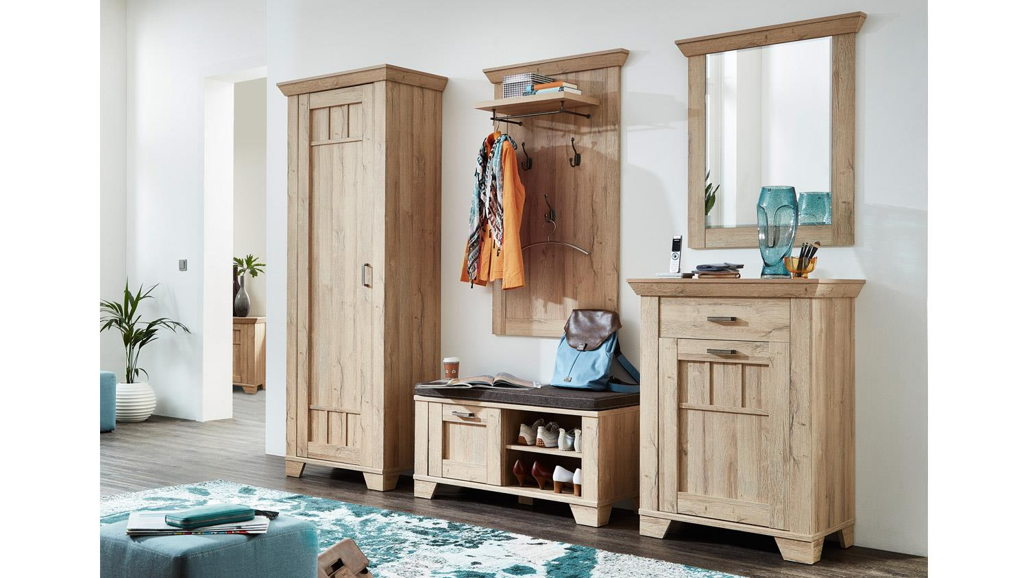 garderobe bristol set flurm bel in gran oak hell. Black Bedroom Furniture Sets. Home Design Ideas