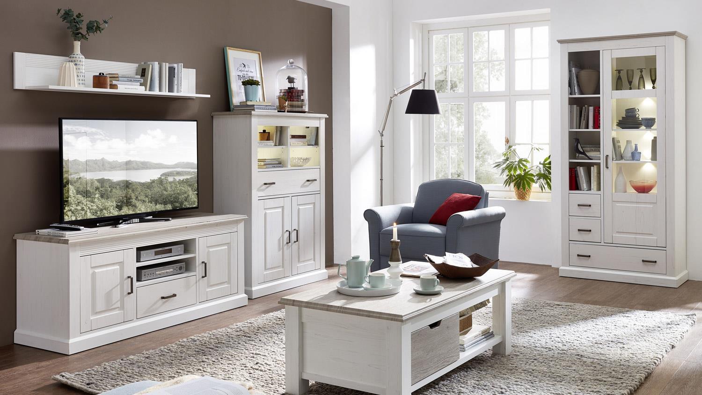 wohnwand lima 5 anbauwand pinie hell taupe mit led. Black Bedroom Furniture Sets. Home Design Ideas