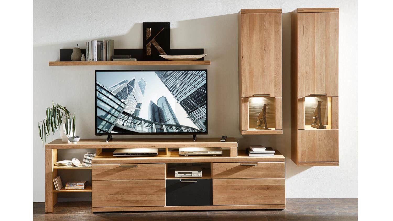 wohnwand bianco 2 anbauwand mit led in wildeiche teilmassiv graphit. Black Bedroom Furniture Sets. Home Design Ideas