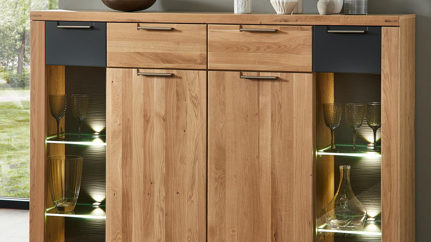 Highboard bianco schrank in wildeiche teilmassiv graphit for Stauraumwunder schrank