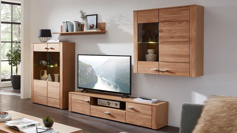 wohnwand moldau 1 anbauwand in wildeiche teilmassiv mit led. Black Bedroom Furniture Sets. Home Design Ideas