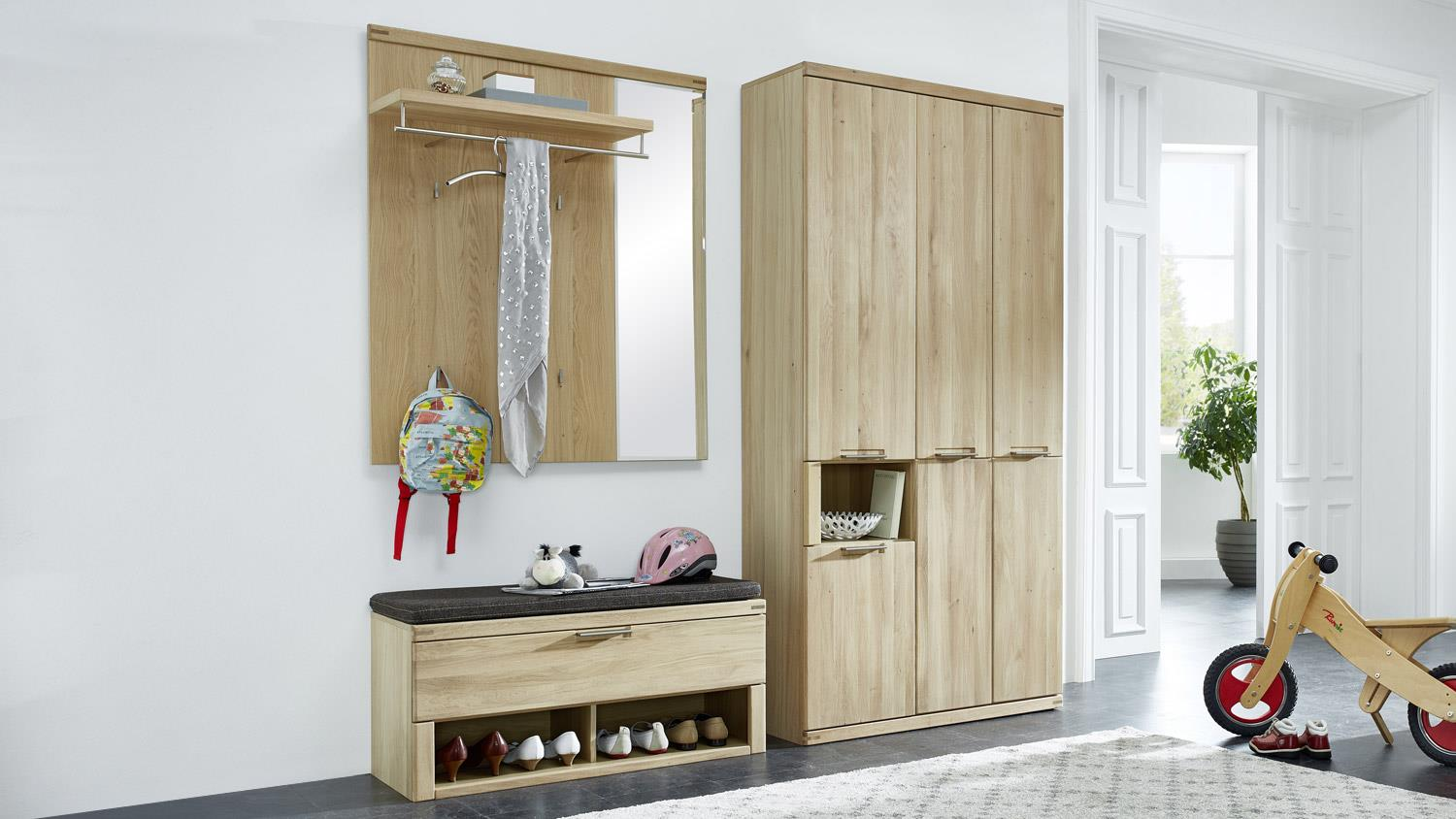garderobenpaneel bianco garderobe mit spiegel wildeiche teilmassiv 100. Black Bedroom Furniture Sets. Home Design Ideas
