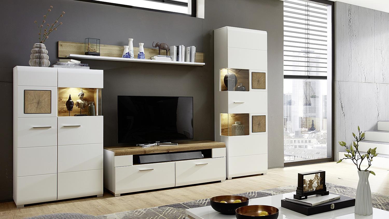 Wohnzimmermöbel weiß matt  2 FUN PLUS Anbauwand weiß matt Eiche Altholz Hirnholz mit LED