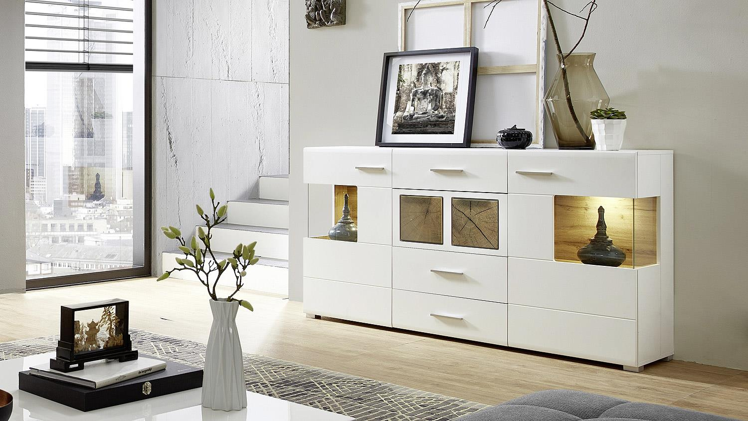 sideboard fun plus kommode in wei matt eiche altholz. Black Bedroom Furniture Sets. Home Design Ideas