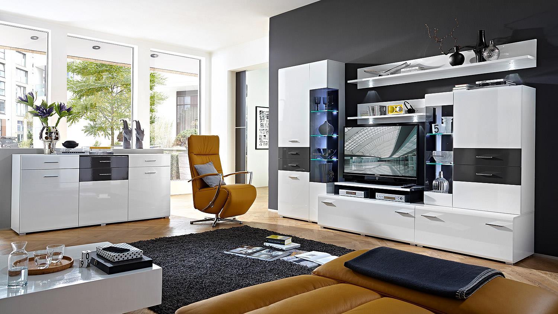Wohwand SCALAS Anbauwand Wohnzimmer in weiß und grau Hochglanz mit LED