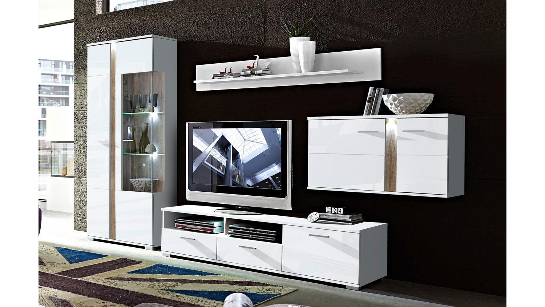 wohnwand weiss hochglanz malibu mit led beleuchtung. Black Bedroom Furniture Sets. Home Design Ideas