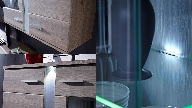 Wohnwand Landhausstil Malibu Silbereiche Dekor mit LED Beleuchtung
