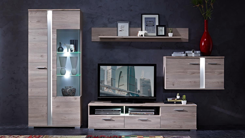 wohnwand im modernen landhausstil aus der serie malibu. Black Bedroom Furniture Sets. Home Design Ideas