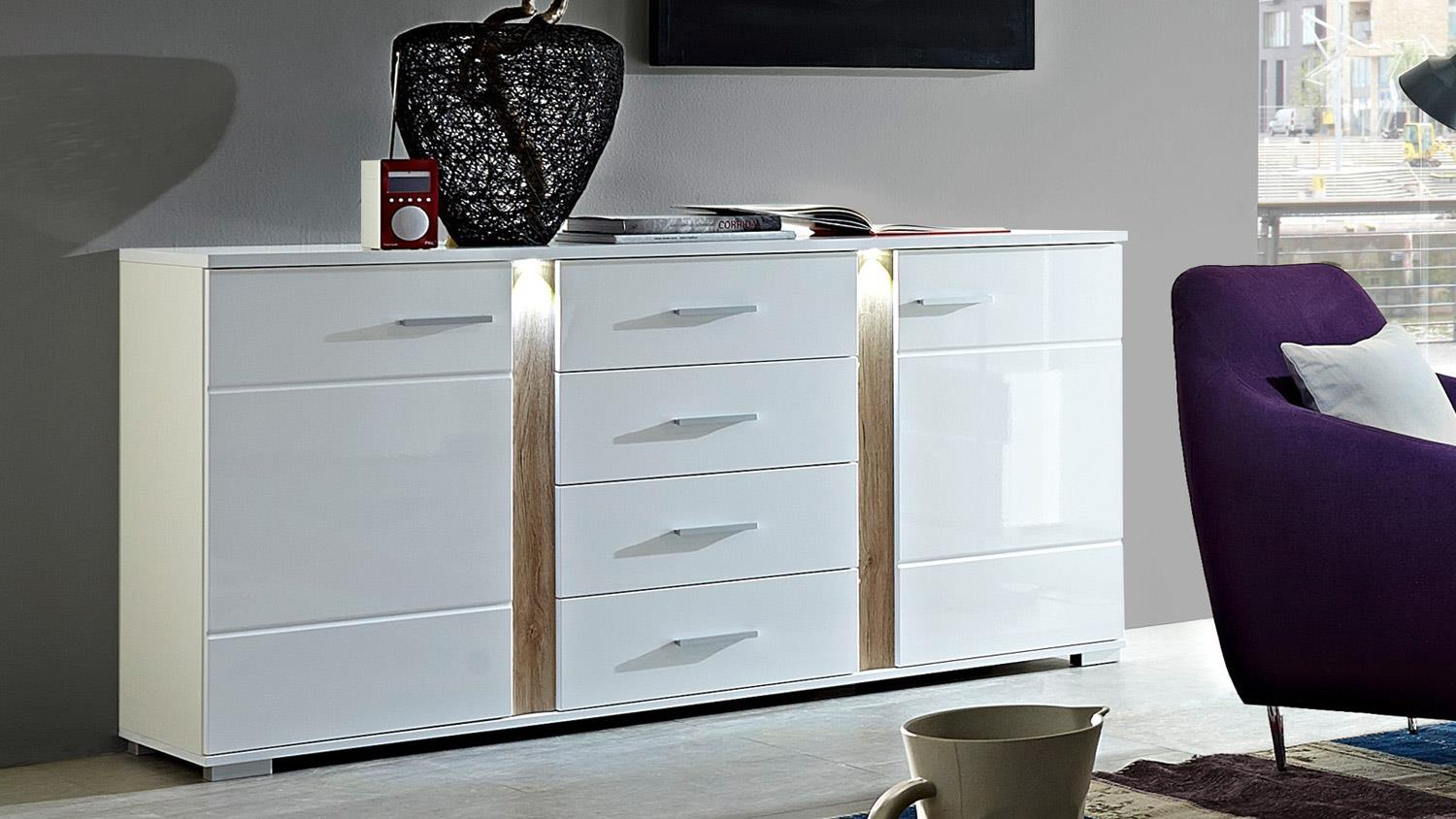 sideboard malibu anrichte in mdf wei hochglanz inkl led beleuchtung. Black Bedroom Furniture Sets. Home Design Ideas