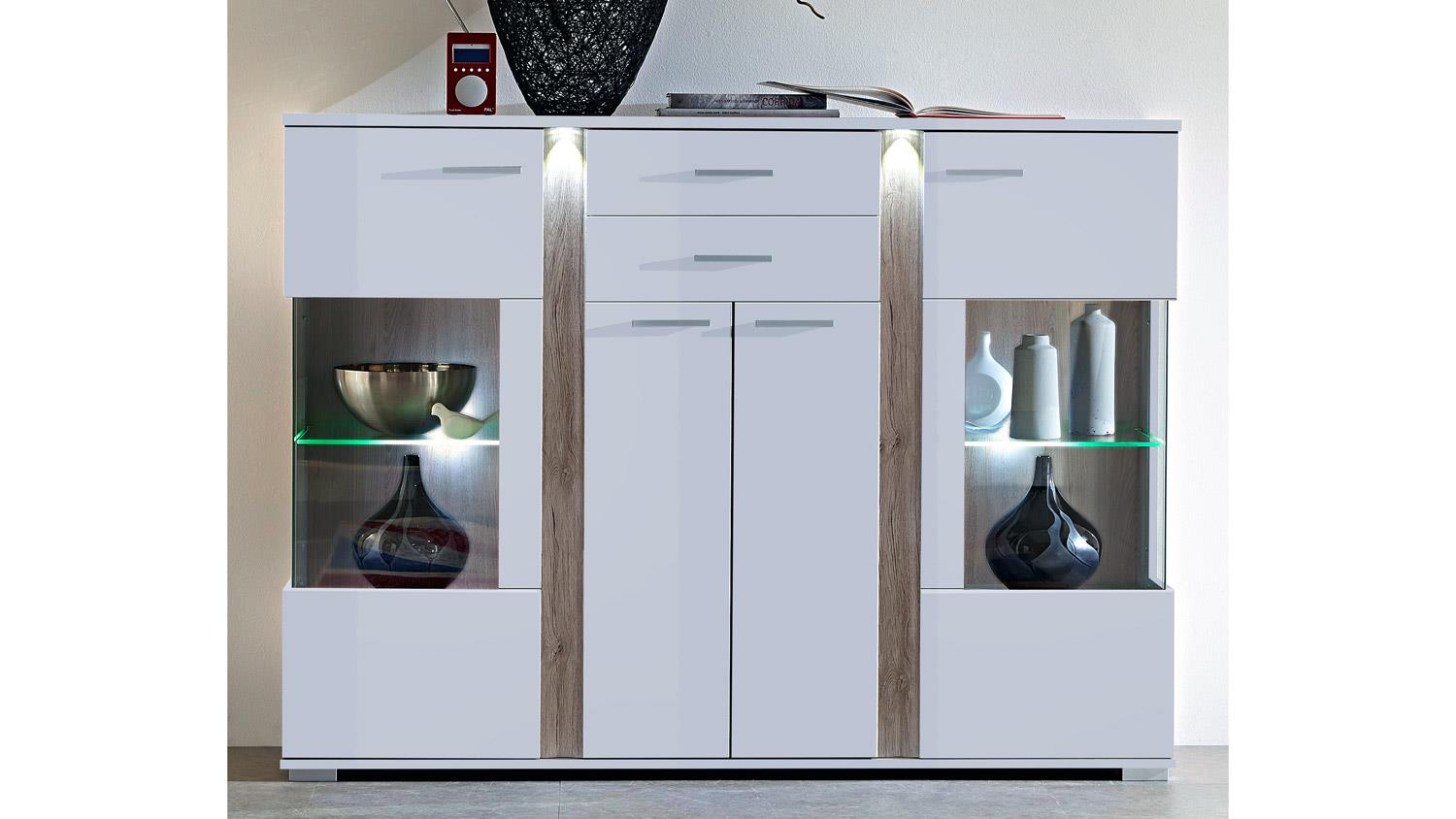 highboard kommode wei hochglanz malibu mit led beleuchtung. Black Bedroom Furniture Sets. Home Design Ideas