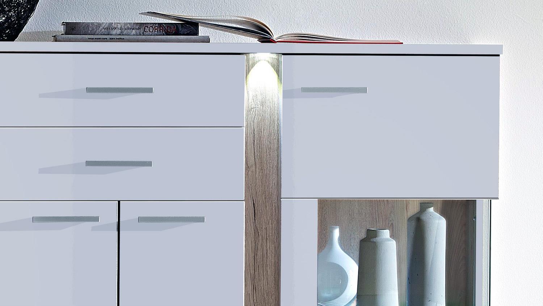 highboard kommode wei hochglanz malibu mit led beleuchtung. Black Bedroom Furniture Sets. Home Design Ideas