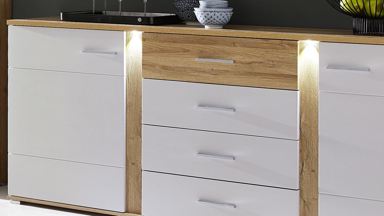 sideboard spurt mit led anrichte champagner wei und eiche hell. Black Bedroom Furniture Sets. Home Design Ideas