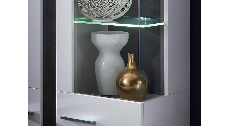 vitrine spurt 2 mit led schrank wei supermatt und betonoptik. Black Bedroom Furniture Sets. Home Design Ideas