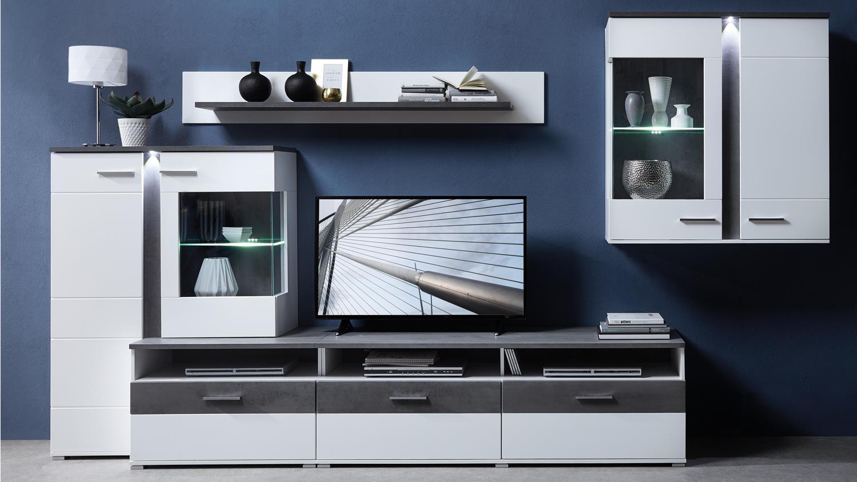 wohnwand spurt 1 mit led anbauwand in wei supermatt und betonoptik. Black Bedroom Furniture Sets. Home Design Ideas