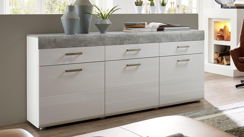 sideboard betonoptik sydney large sideboard in high gloss white drawer door with sideboard. Black Bedroom Furniture Sets. Home Design Ideas