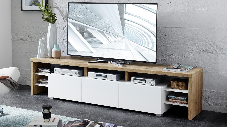 tv lowboard torino tv board in eiche altholz und wei matt 197 cm. Black Bedroom Furniture Sets. Home Design Ideas