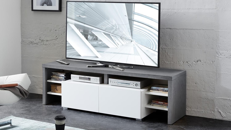 tv lowboard torino tv board in betonoptik und wei matt 150 cm. Black Bedroom Furniture Sets. Home Design Ideas