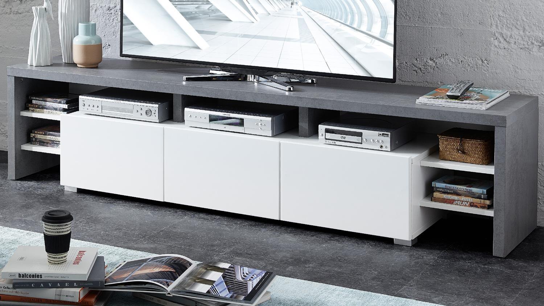tv lowboard torino tv board in betonoptik und wei matt 197 cm. Black Bedroom Furniture Sets. Home Design Ideas