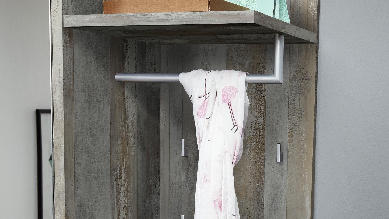 garderobenpaneel sintra garderobe pinie dunkel vintage grau. Black Bedroom Furniture Sets. Home Design Ideas