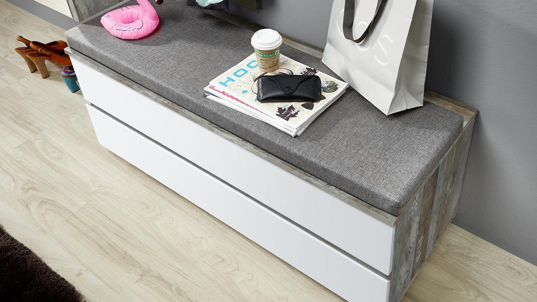 bank truhe sintra garderobenbank in pinie dunkel vintage grau und wei. Black Bedroom Furniture Sets. Home Design Ideas