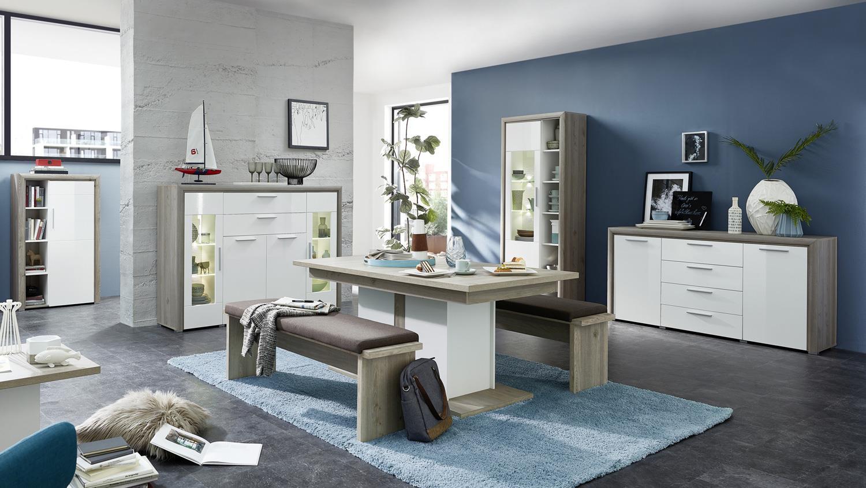 Esszimmer KELIS ausziehbarer Tisch und Bank weiß matt und Silbereiche
