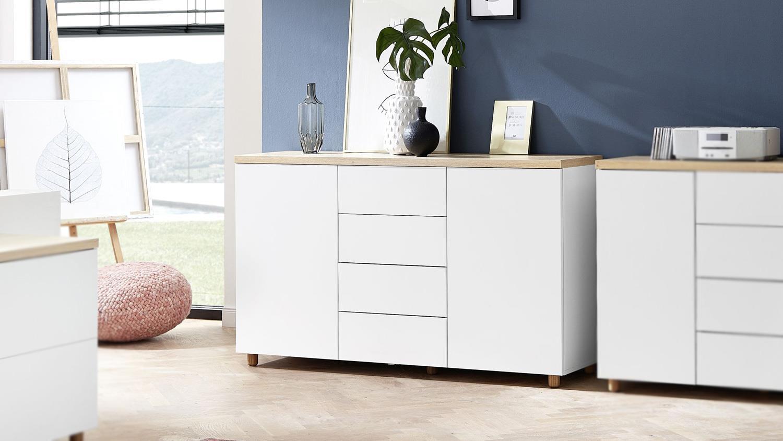 kommode 20 kemdo sideboard anrichte in wei matt und eiche. Black Bedroom Furniture Sets. Home Design Ideas