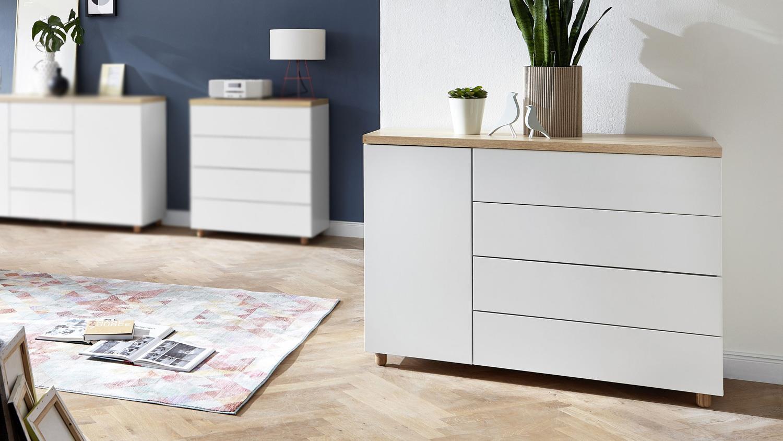 kommode 23 kemdo anrichte sideboard in wei matt und eiche. Black Bedroom Furniture Sets. Home Design Ideas