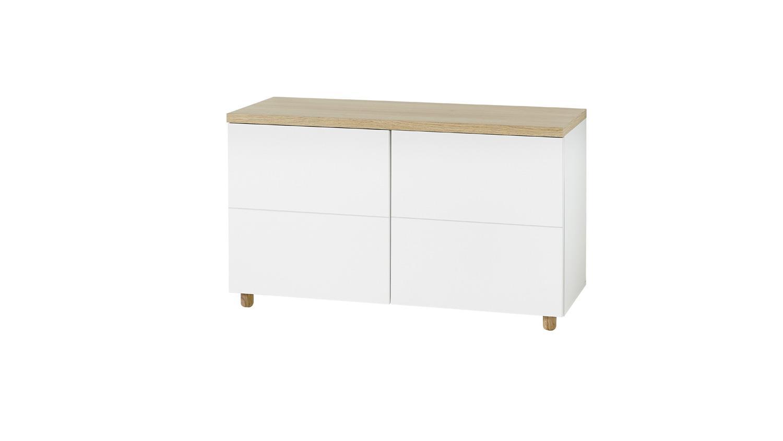 kommode 24 kemdo anrichte sideboard wei matt und eiche. Black Bedroom Furniture Sets. Home Design Ideas