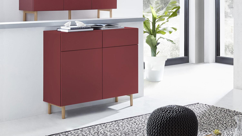 kommode 25 kazo sideboard anrichte in rot matt lack eiche. Black Bedroom Furniture Sets. Home Design Ideas