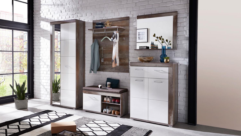 garderobenset crown x flurm bel garderobe wei hochglanz. Black Bedroom Furniture Sets. Home Design Ideas