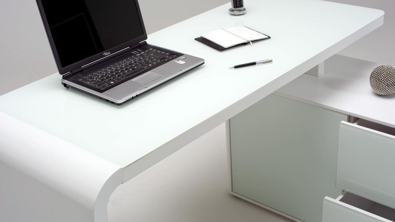 Eckschreibtisch weiß matt  Eckschreibtisch CSL 465 E Computertisch in weiß matt Glas von JAHNKE