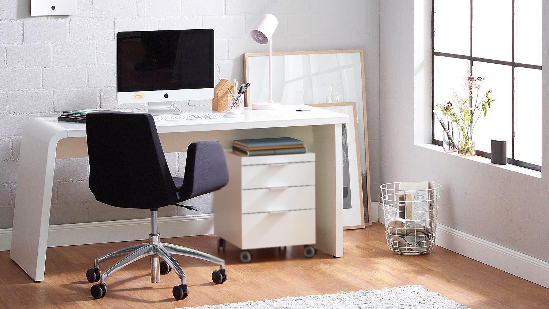 Schreibtisch CSL Computertisch Büromöbel weiß matt mit Glas von JAHNKE
