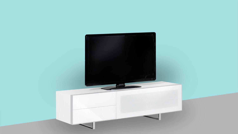 tv board sl 7160 af lowboard mediaboard unterschrank glas wei und alu. Black Bedroom Furniture Sets. Home Design Ideas