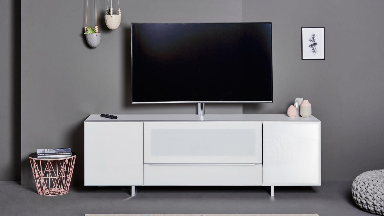 tv board sl 7200 af lowboard mediaboard unterschrank glas wei und alu. Black Bedroom Furniture Sets. Home Design Ideas