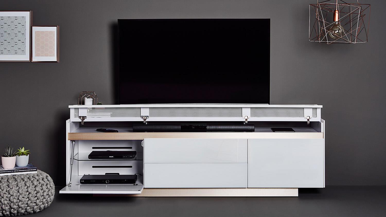 tv board sl 9200 lowboard mediaboard unterschrank glas wei und kupfer. Black Bedroom Furniture Sets. Home Design Ideas