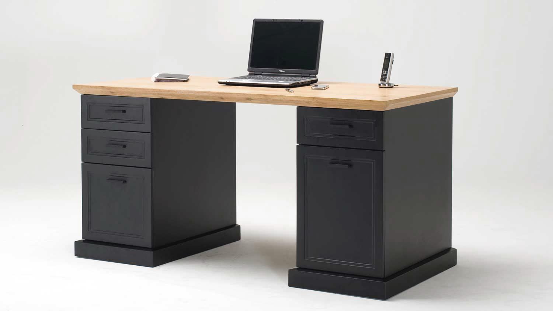 schreibtisch jahnke classik desk 150 wildeiche cashmir grau. Black Bedroom Furniture Sets. Home Design Ideas