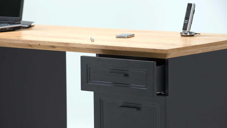 Schreibtisch jahnke classik desk 150 wildeiche cashmir grau for Schreibtisch 150