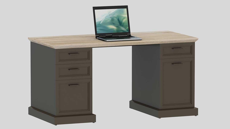 Schreibtisch jahnke classik desk 150 wildeiche cashmir grau for Schreibtisch jahnke