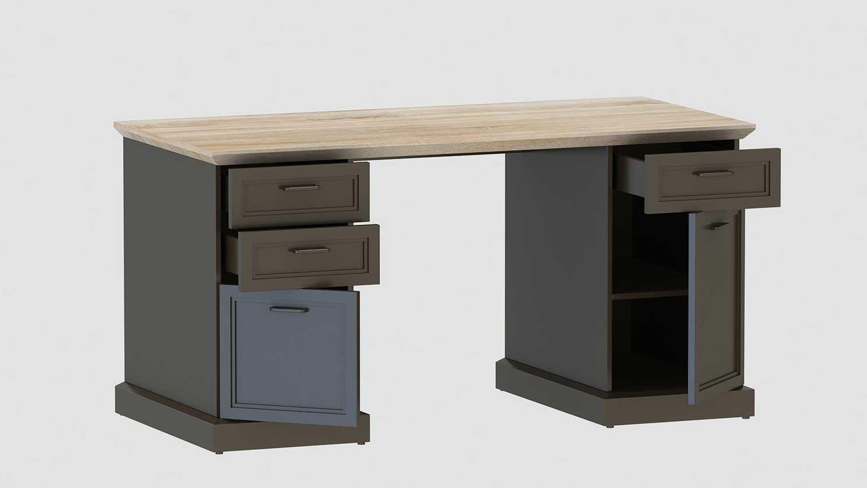 Schreibtisch classik desk 150 wildeiche cashmir grau von for Schreibtisch 150