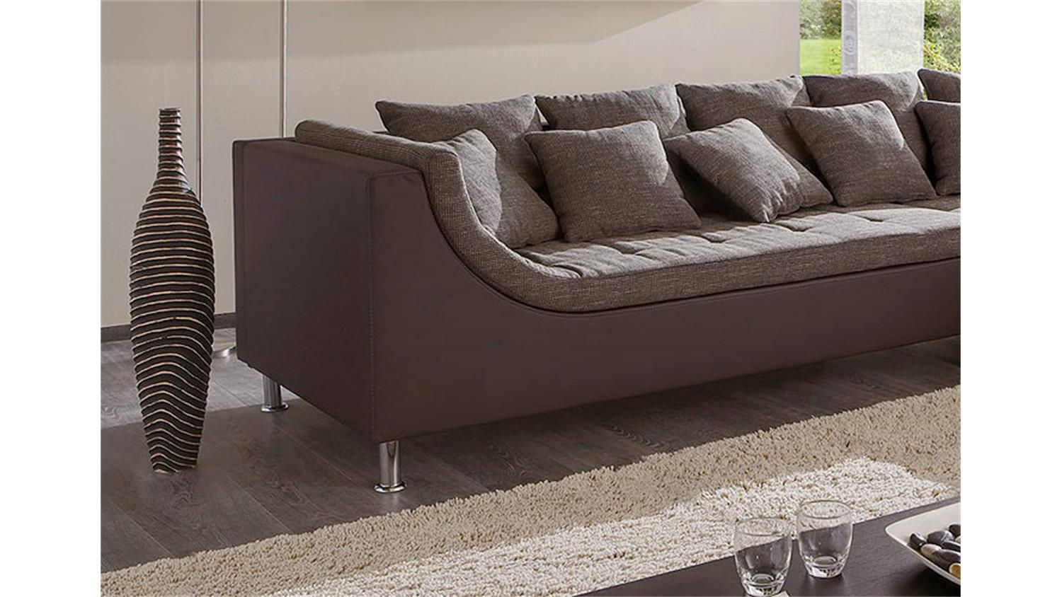 ecksofa montego sofa mit ottomane in braun 6 r ckenkissen. Black Bedroom Furniture Sets. Home Design Ideas