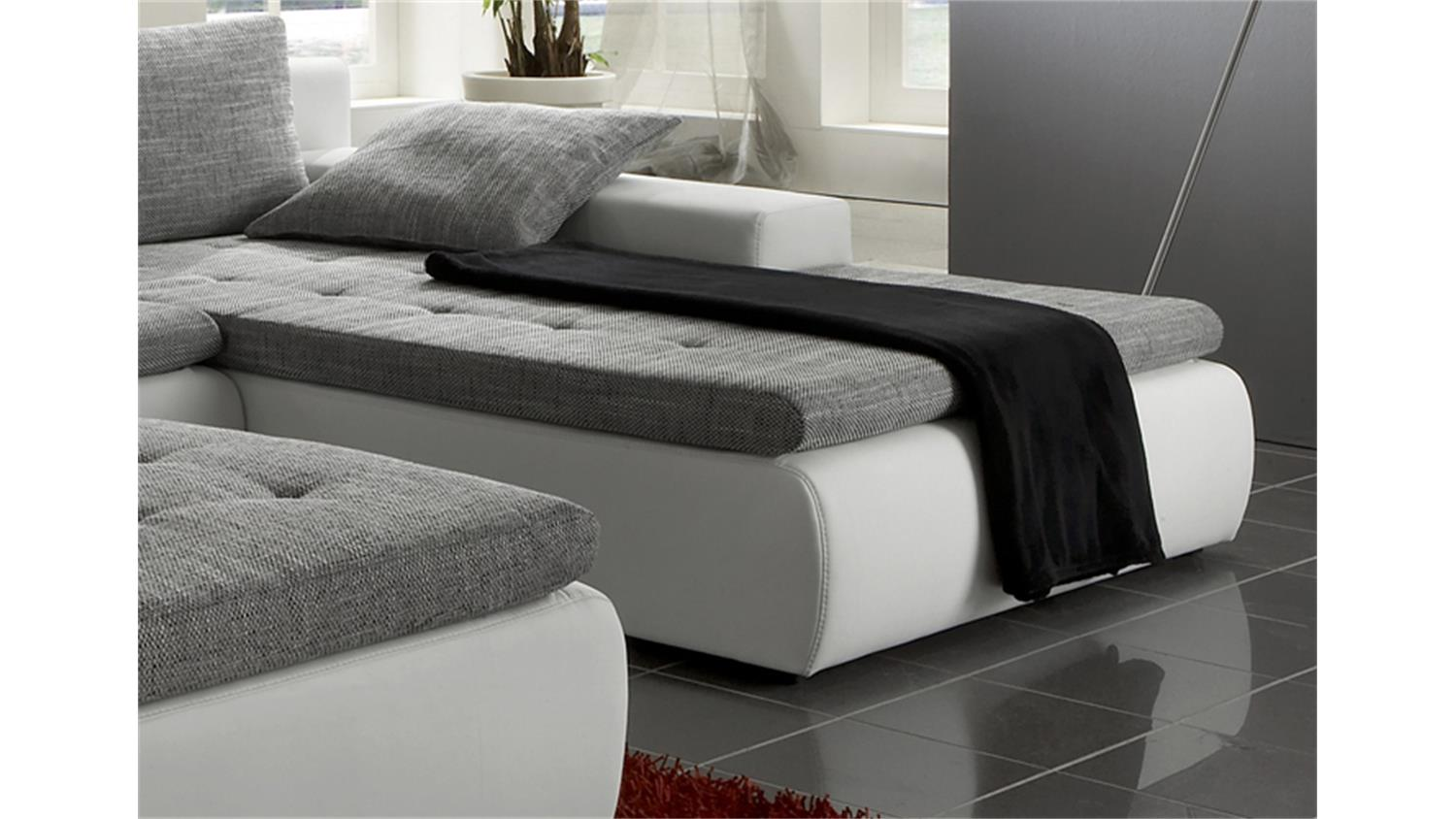 ecksofa alfa mit hocker in wei und grau mit g stebett. Black Bedroom Furniture Sets. Home Design Ideas